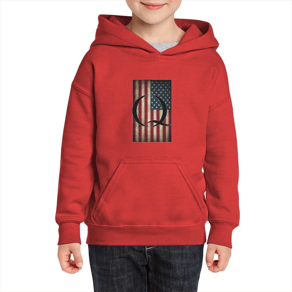 Thumb Q QANON AMERICA USA - WHERE WE GO ONE Kid Hoodie