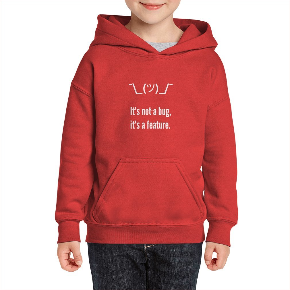 Thumb Shrug It is not a bug, it's a feature. White Text Programmer Excuse Design Kid Hoodie