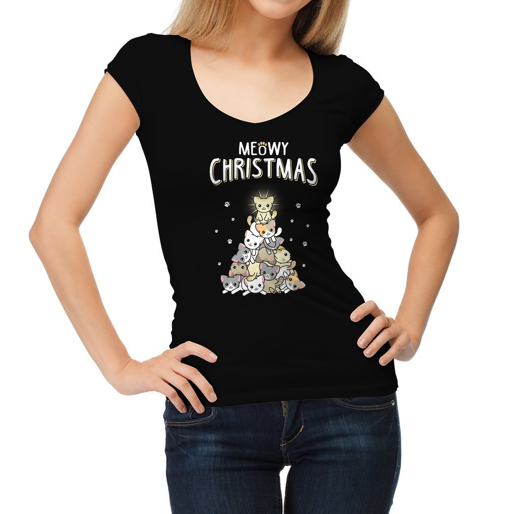 Thumb Meowy Christmas Women T Shirt