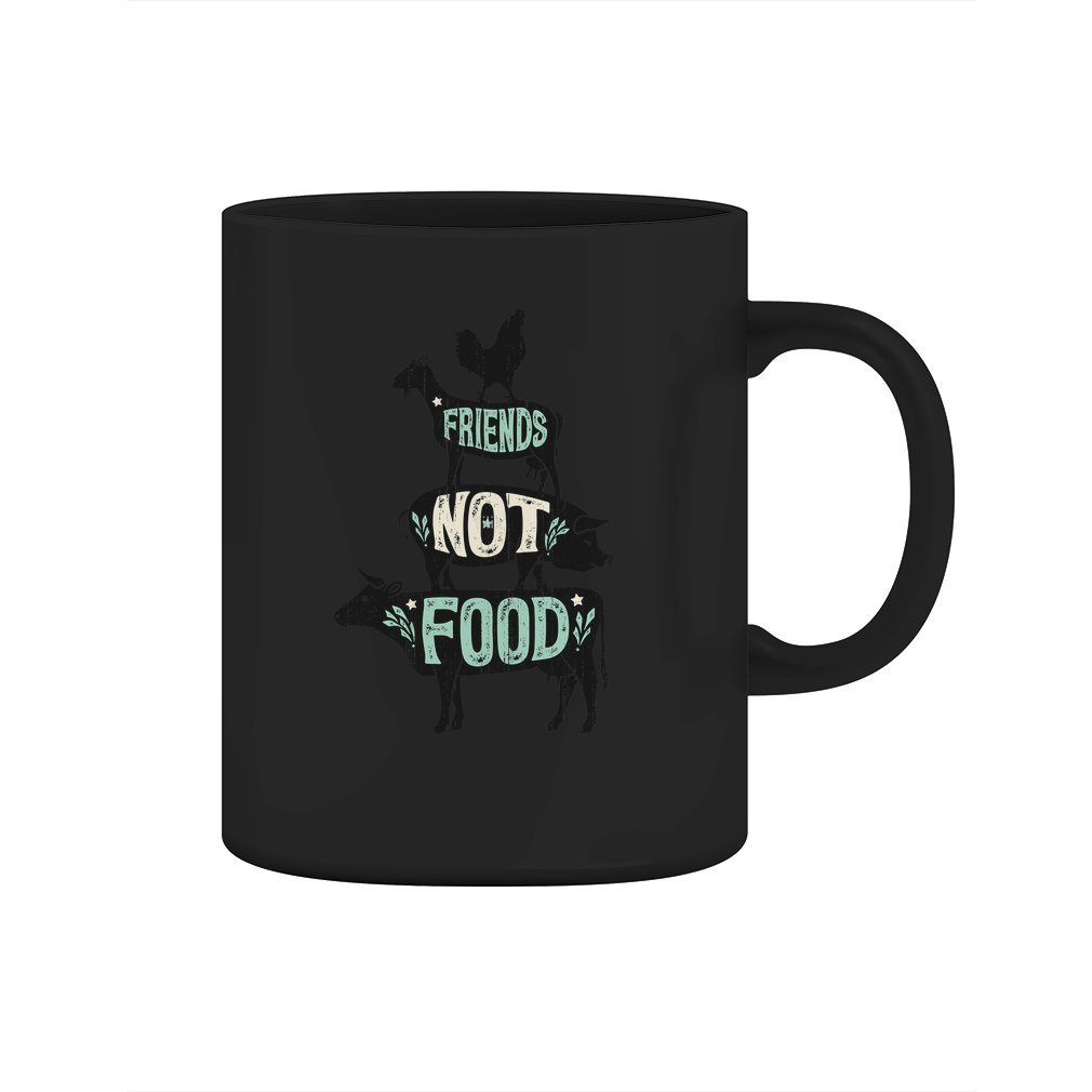 Friends Not Food - Vegan Vegetarian Animal Lovers T-Shirt - Vintage Distressed - Mug