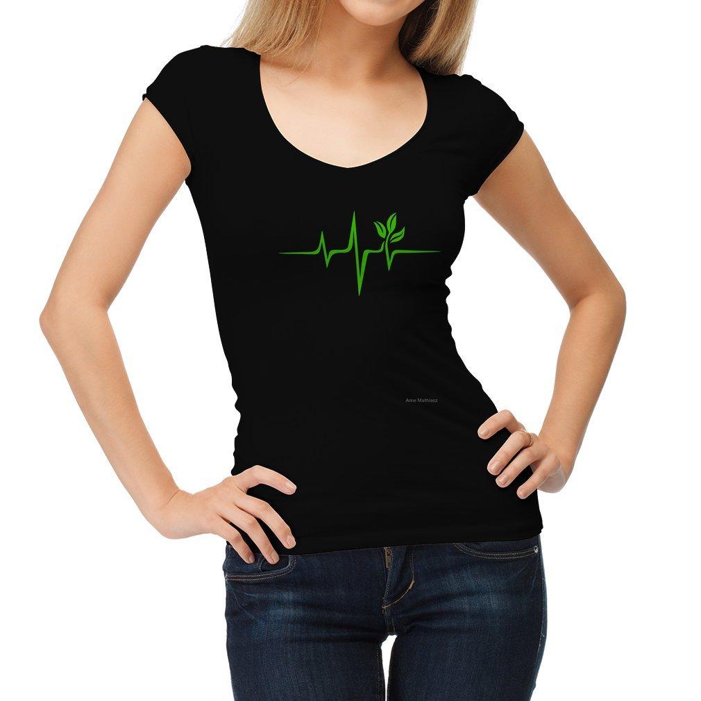 Thumb Heartbeat, Pulse Green, Vegan, Frequency, Wave, Earth, Planet Women T Shirt