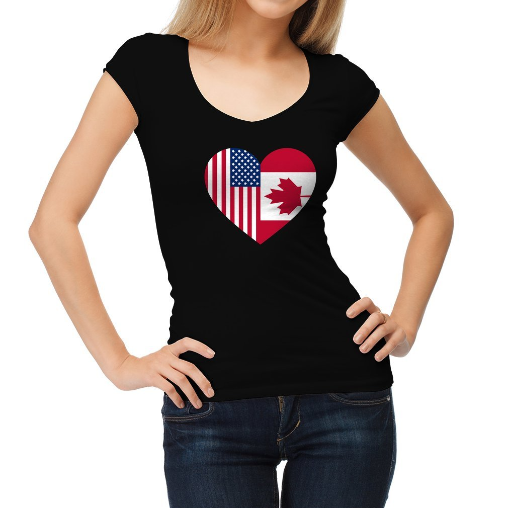Thumb USA Canada flag heart Women T Shirt