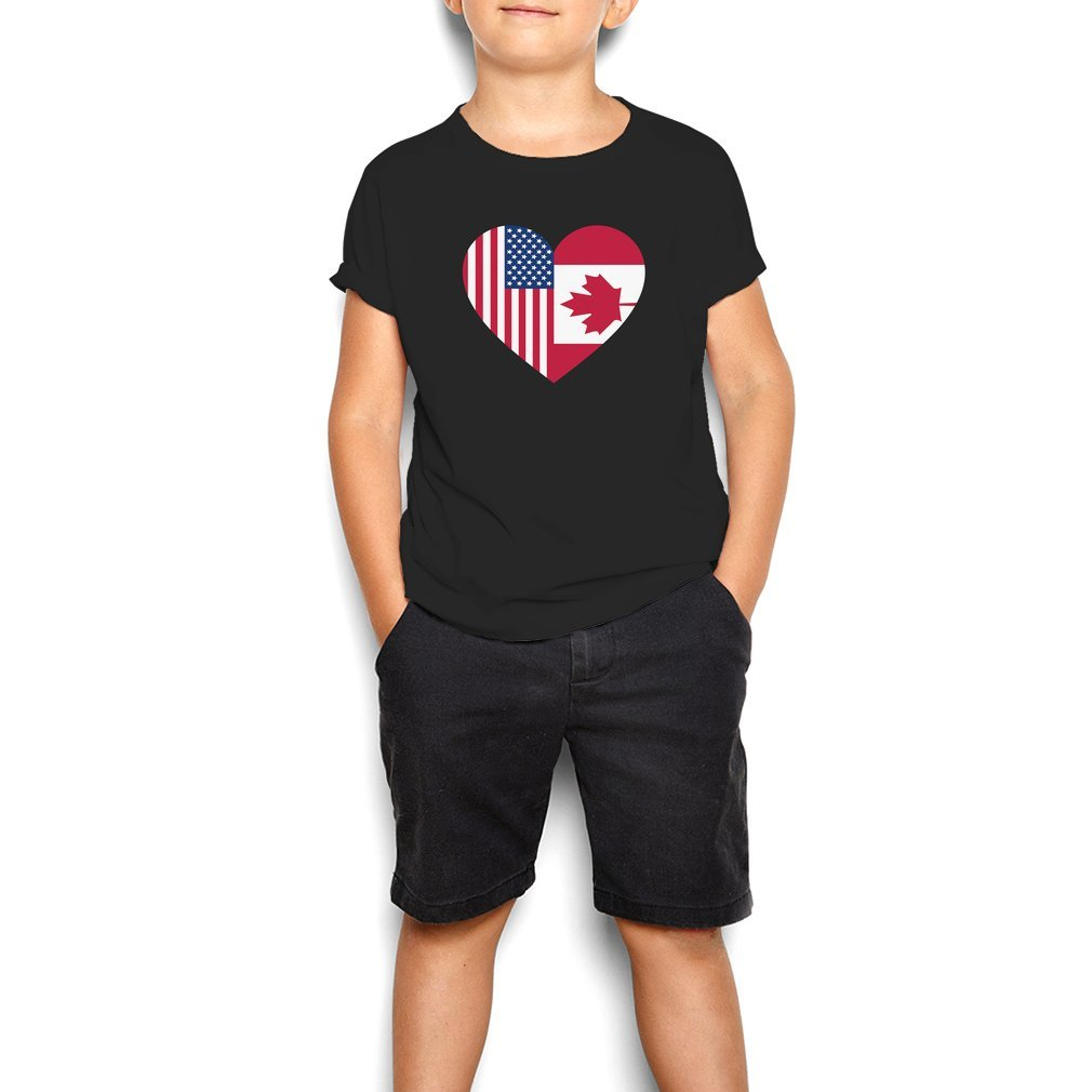 Thumb USA Canada flag heart Youth Tee