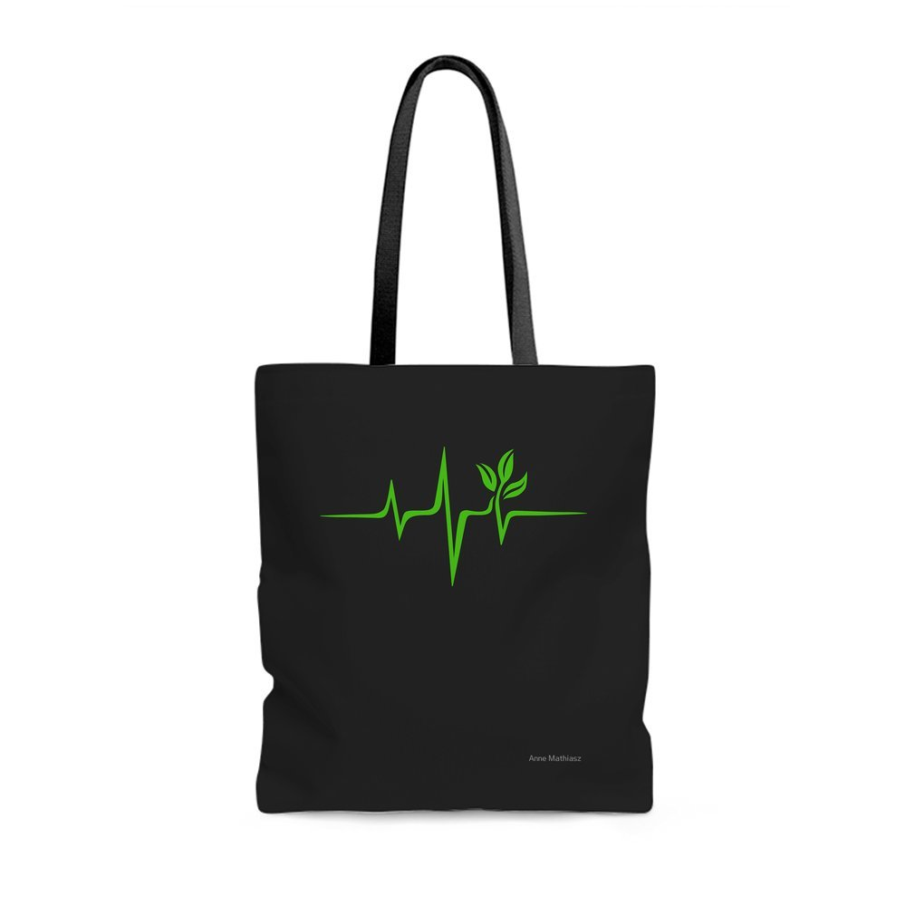 Thumb Heartbeat, Pulse Green, Vegan, Frequency, Wave, Earth, Planet Tote Bag