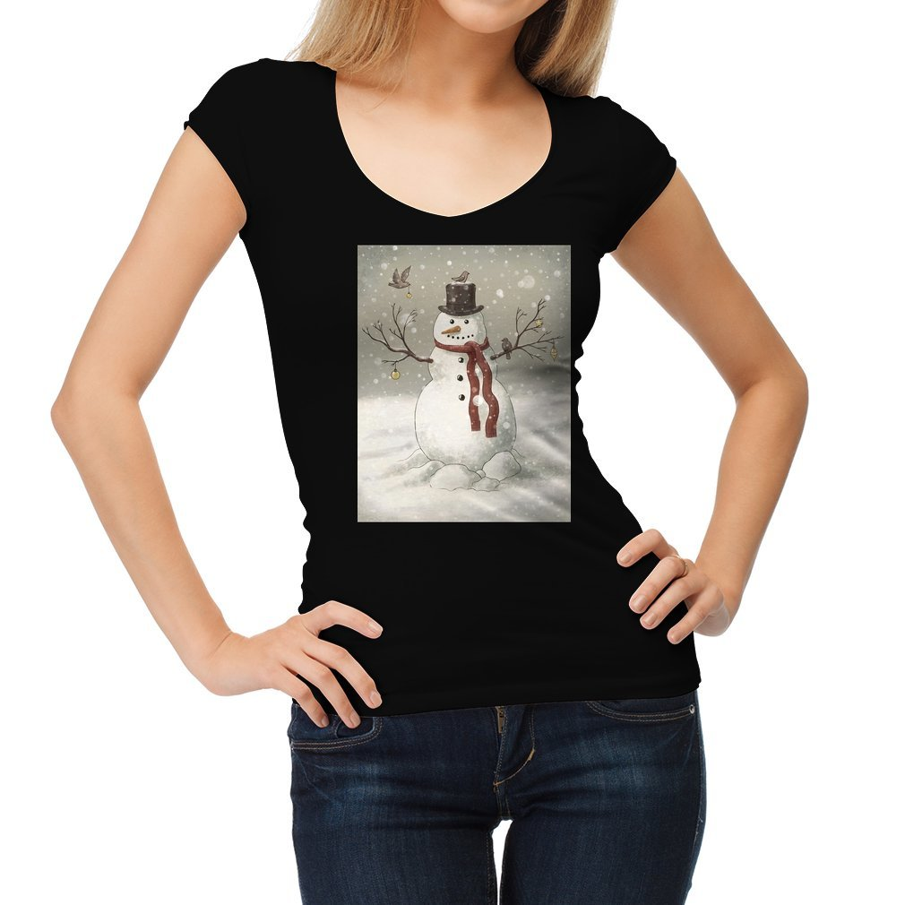 Thumb Christmas Snowman Women T Shirt